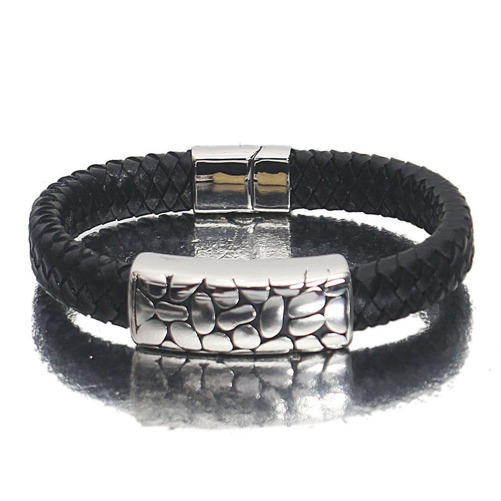 Silver Black Etched Leather Bracelet