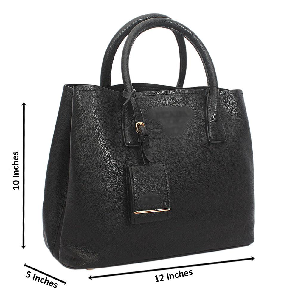 Black Monochrome Cowhide Leather Tote Handbag