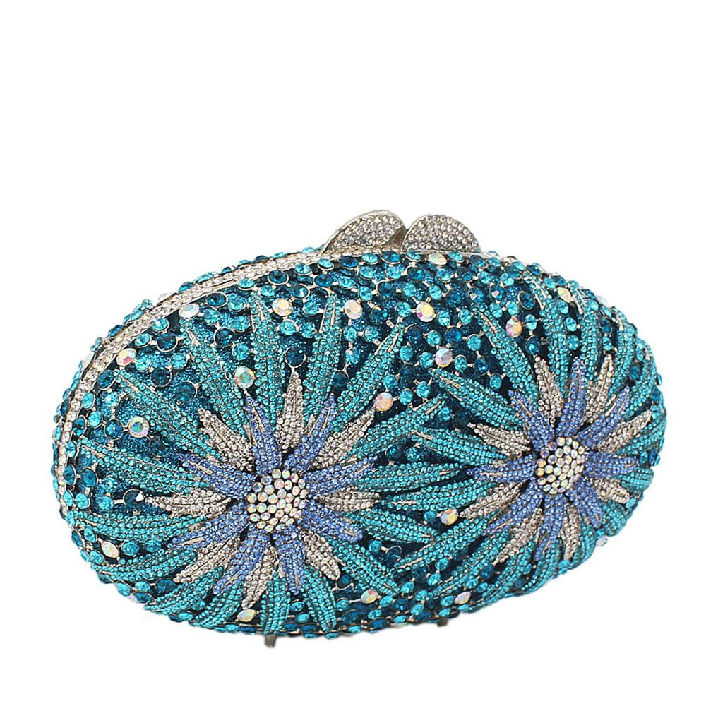 Turquiose Twin Fireworks Diamante Crystals Clutch Purse