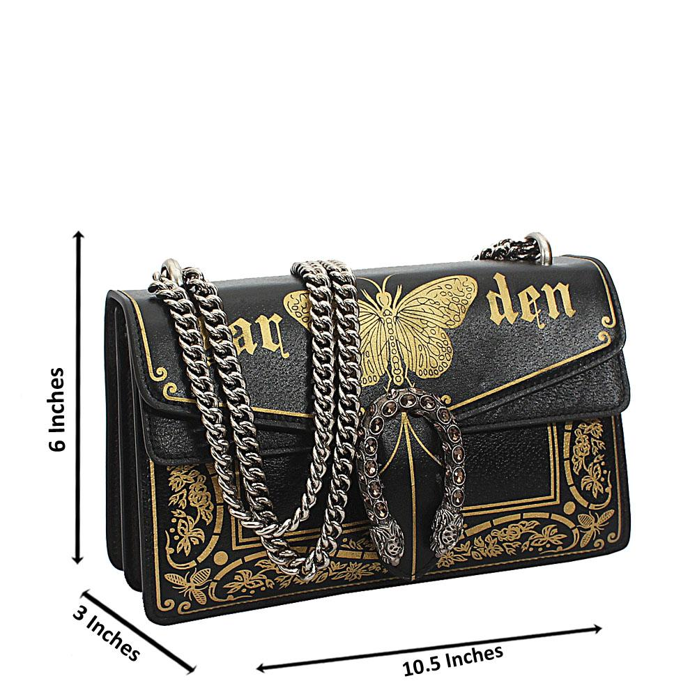 Black Saffiano Leather Chain Crossbody Handbag
