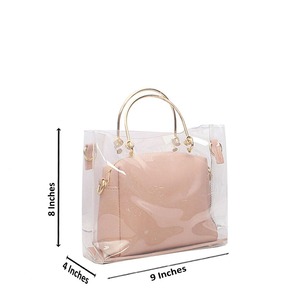 Peach Transparent Ice Rubber Leather Mini Bag