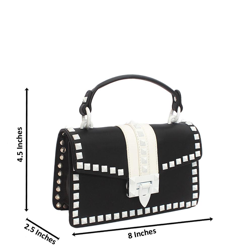 Black White Studded Leather Mini Handle Bag