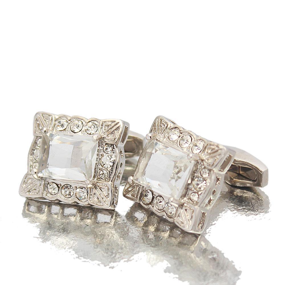 Silver Diamond Ice Stainless Steel Cufflinks