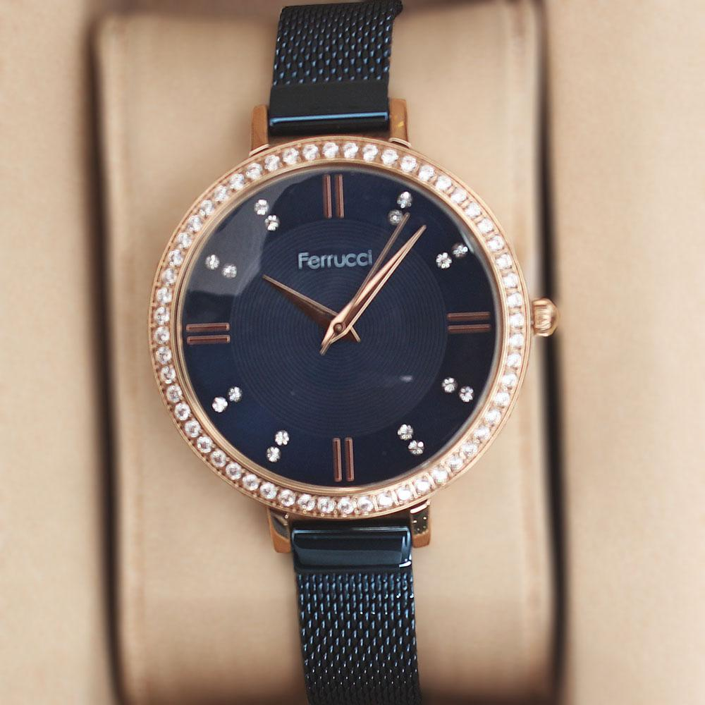 Ferrucci Studded Gold Blue Mesh Ladies Watch