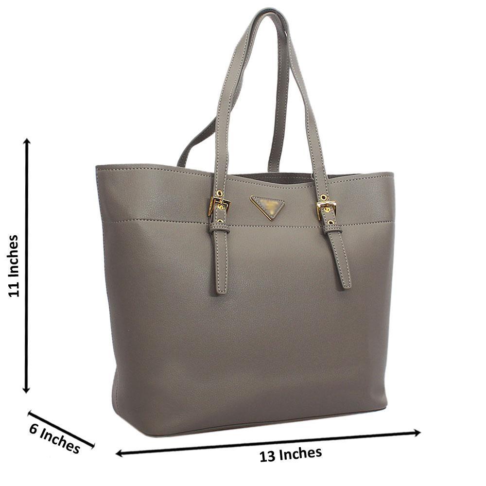 Gray Tuscany Leather Shoulder Handbag