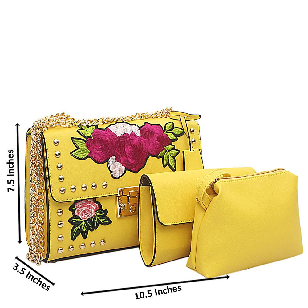 Yellow Leather Floral Design 3 in 1 Crossbody Bag
