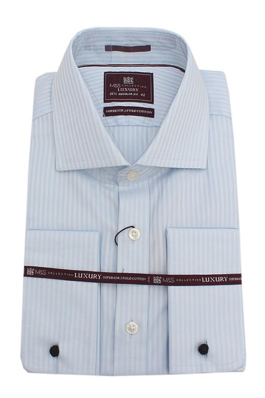 M & S Collection Sky Blue  L/Sleeve Men Shirt Wt Cuffs