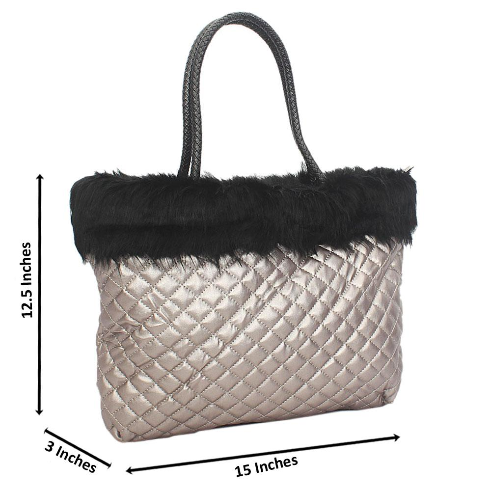 Metallic Gray Molly Fury Tuscany Leather Shoulder Handbag