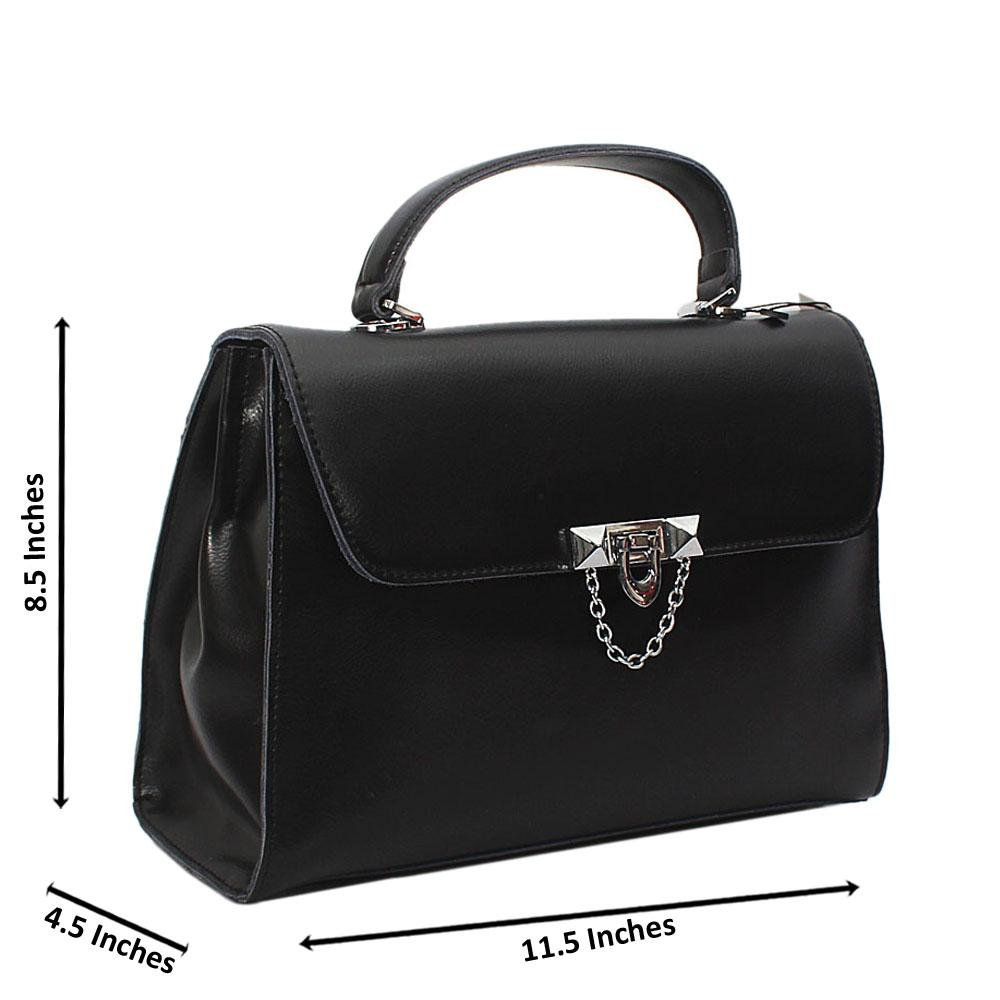 Black Mia Montana Leather Top Handle Handbag