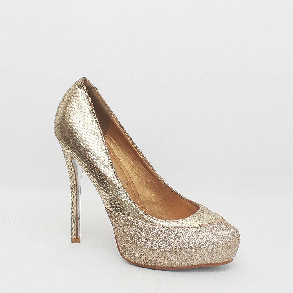Mareska Gold Glittering Italian  Shoe