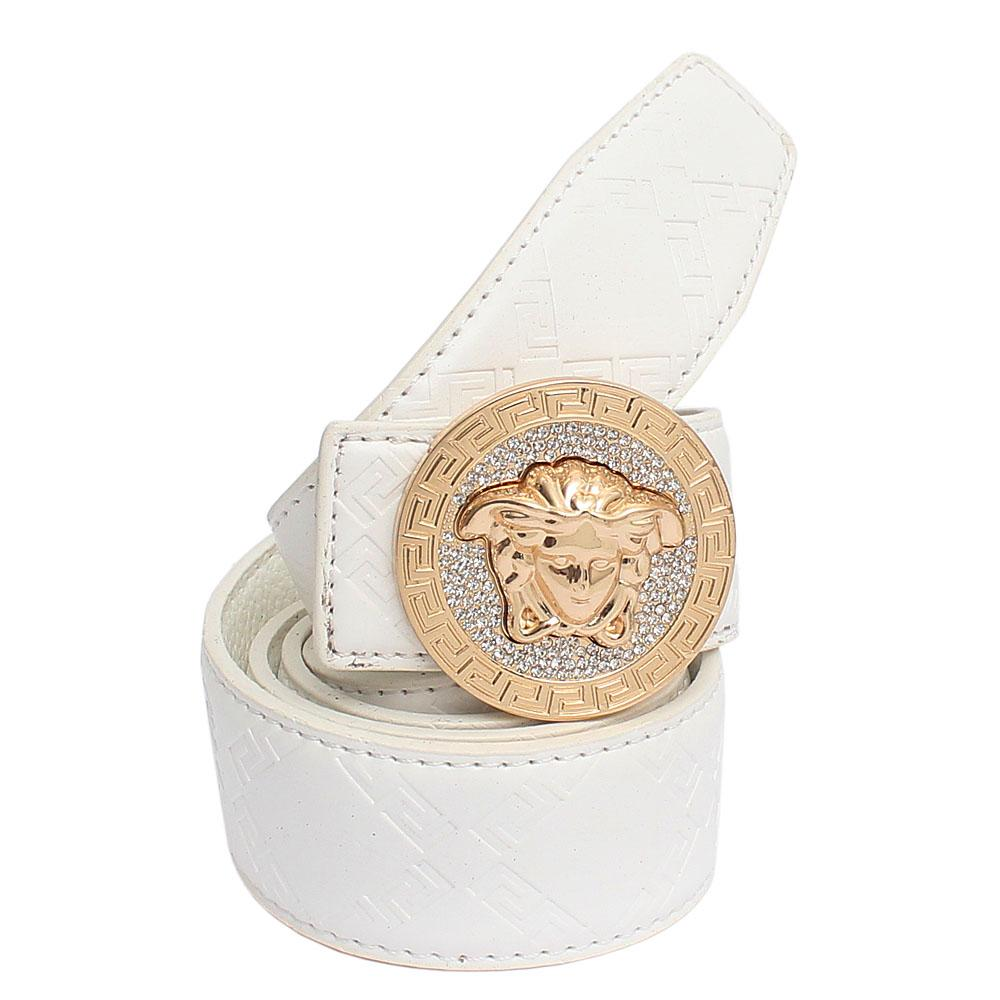 Versace White Classic Leather Men Belt L 42 Inches
