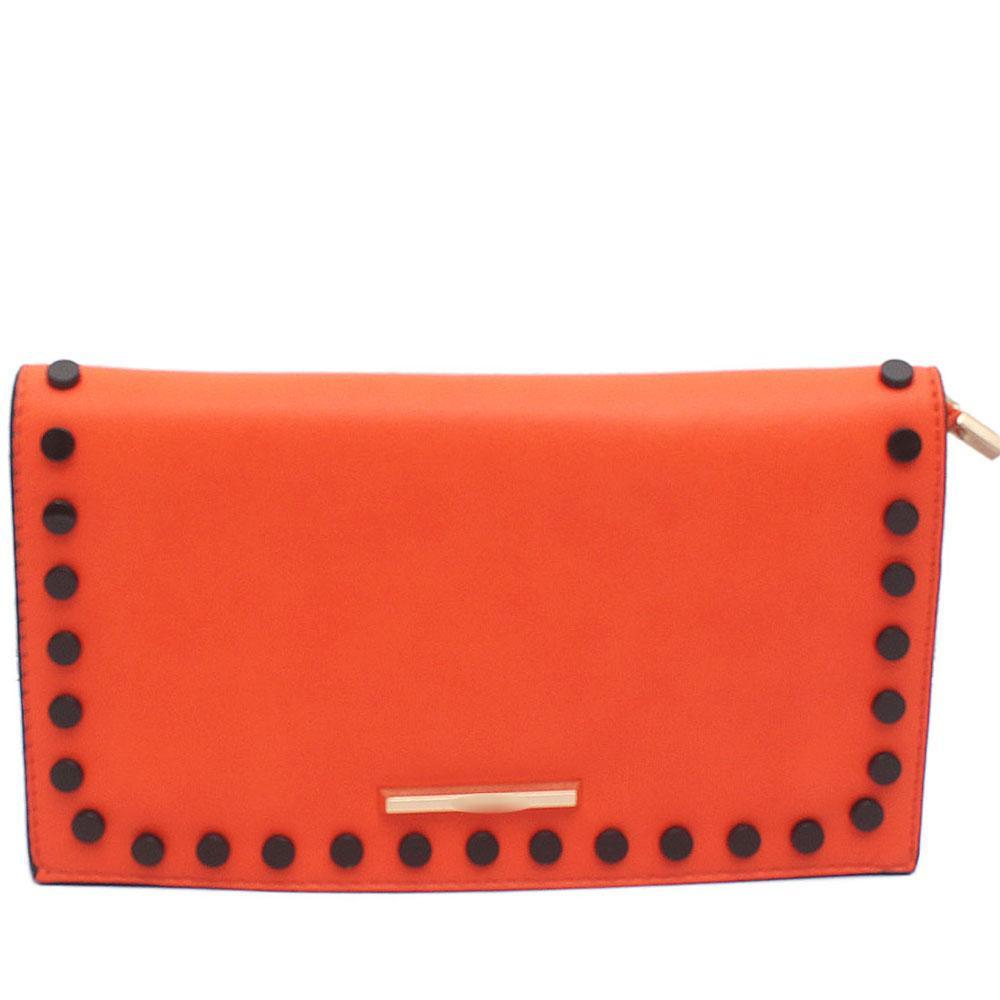 Orange Tamaline Stud Leather Flat Clutch
