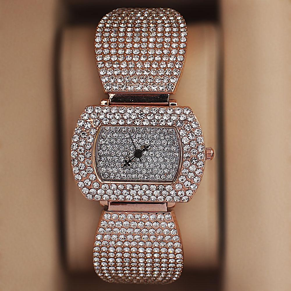 Rose Gold Crystal Studded Ladies Watch