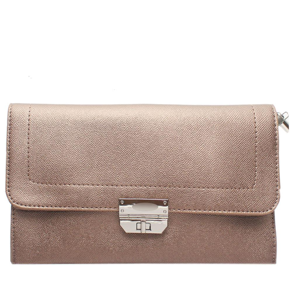 Metallic Gold Nefelia Leather Flat Purse
