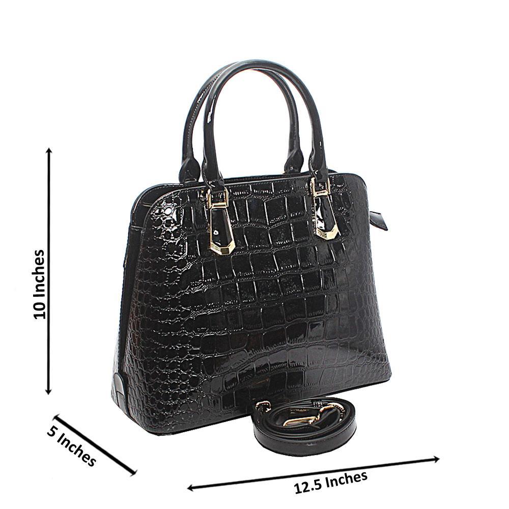 Baizili Patent Black Croc Style Italian Leather Handbag
