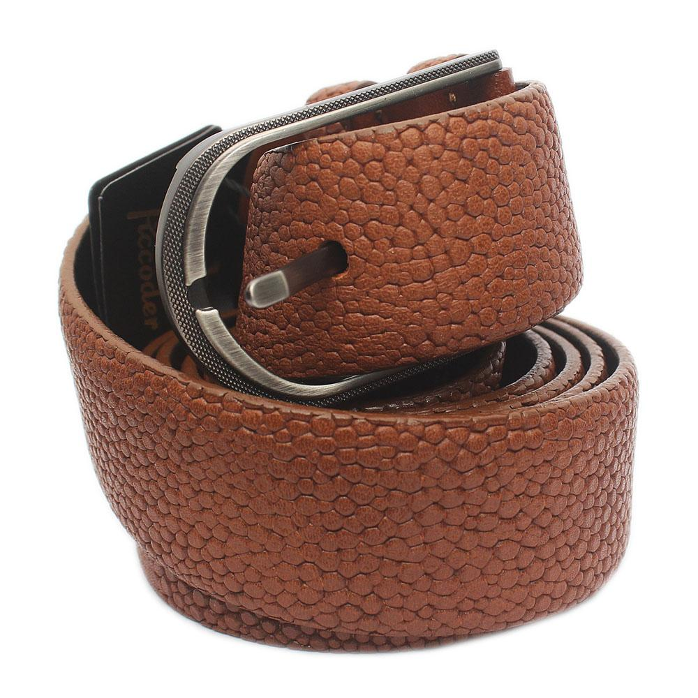 Brown Classic Embossed Italian Leather Flat Belt L 48 Inches