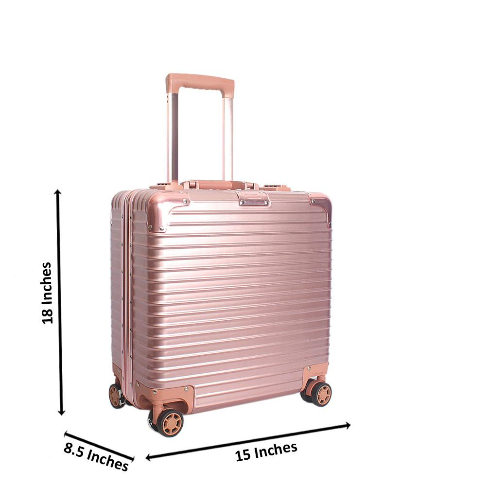 Pink 18 Inch Hard Shell 4 Wheels Spinners Pilot Suitcase