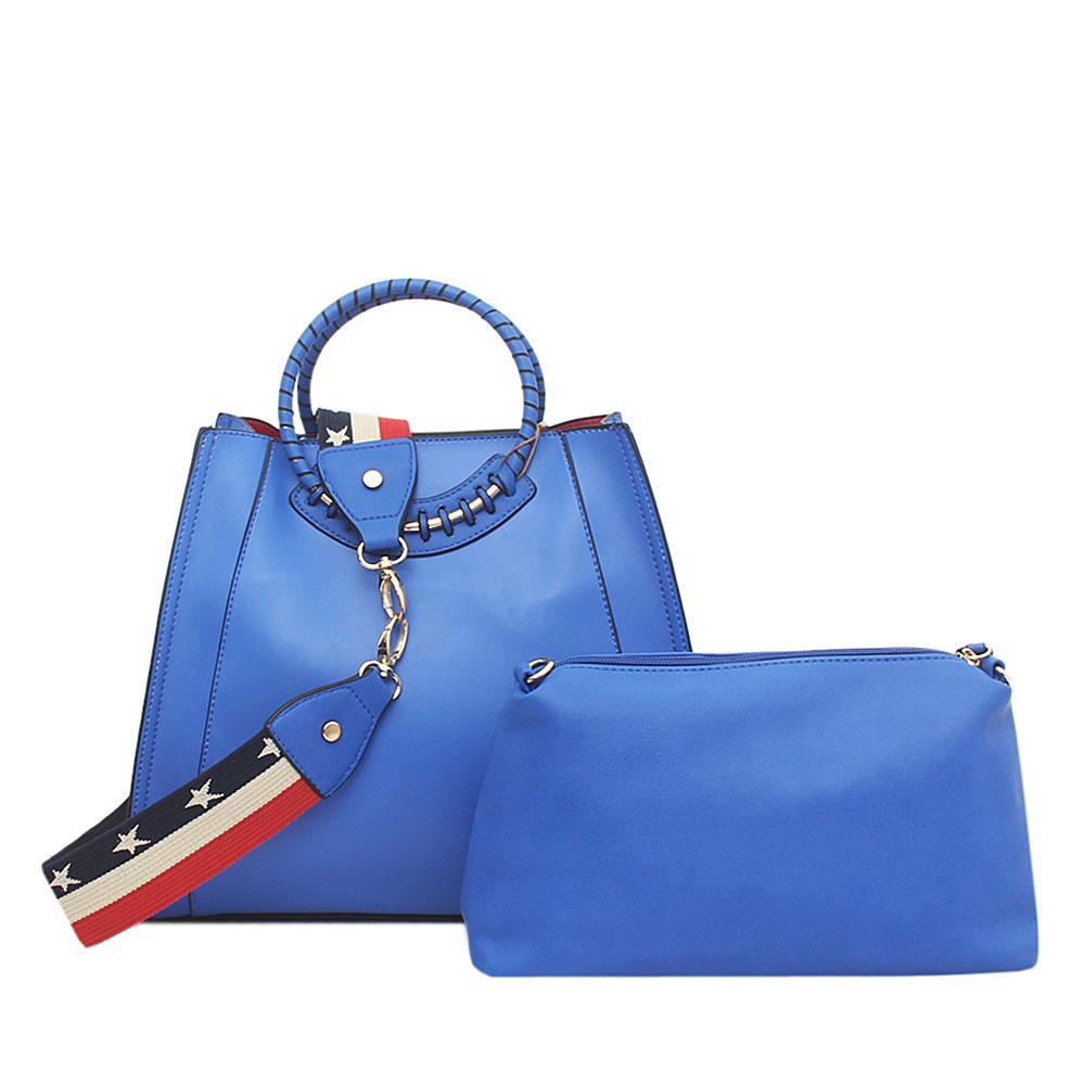 Tosoco Blue Leather Handbag Wt Purse