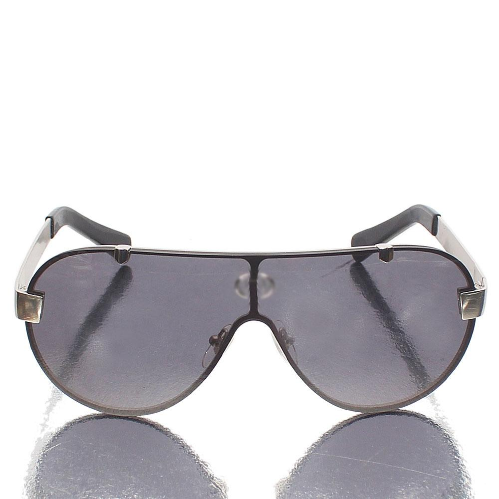 Silver Black Shield Dark Lens Sunglasses