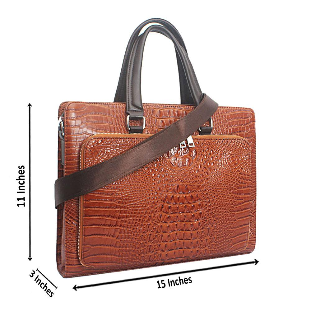 Brown Croc Leather Messenger Bag