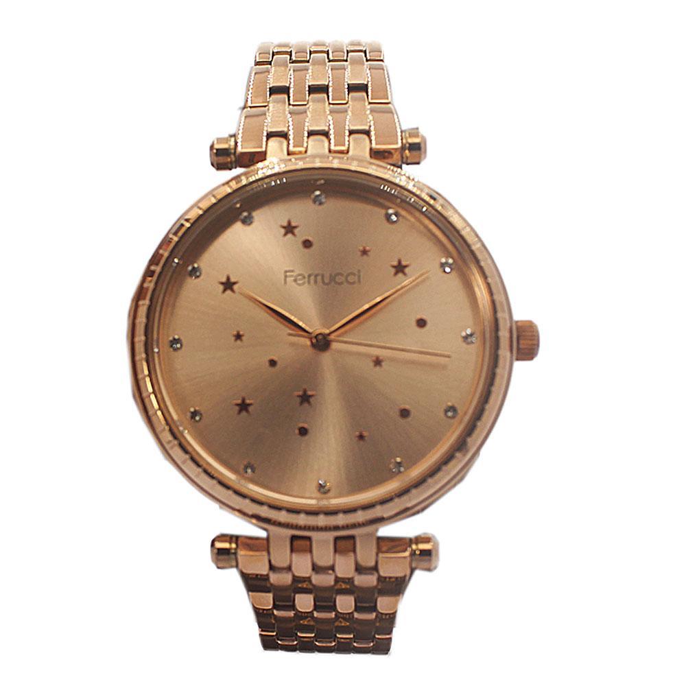 Ferrucci Star Rose Gold Mesh Fashion Ladies Watch