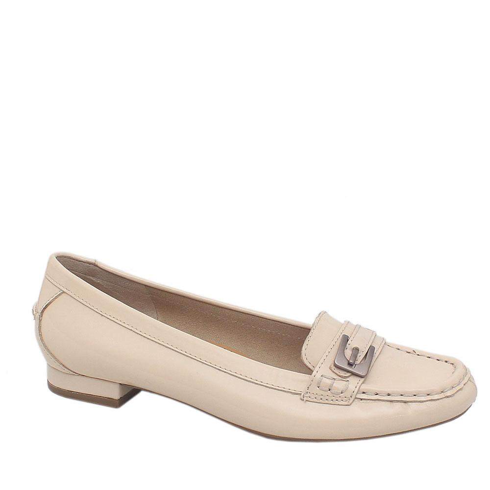 Footglove Khaki Patent Leather Ladies Shoe