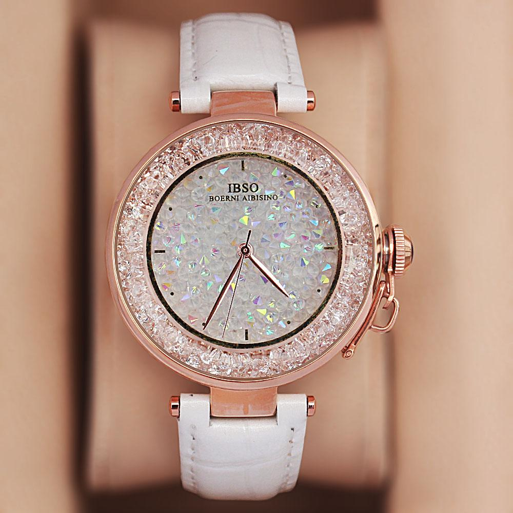 Crystal Ice White Leather Classic Ladies Watch