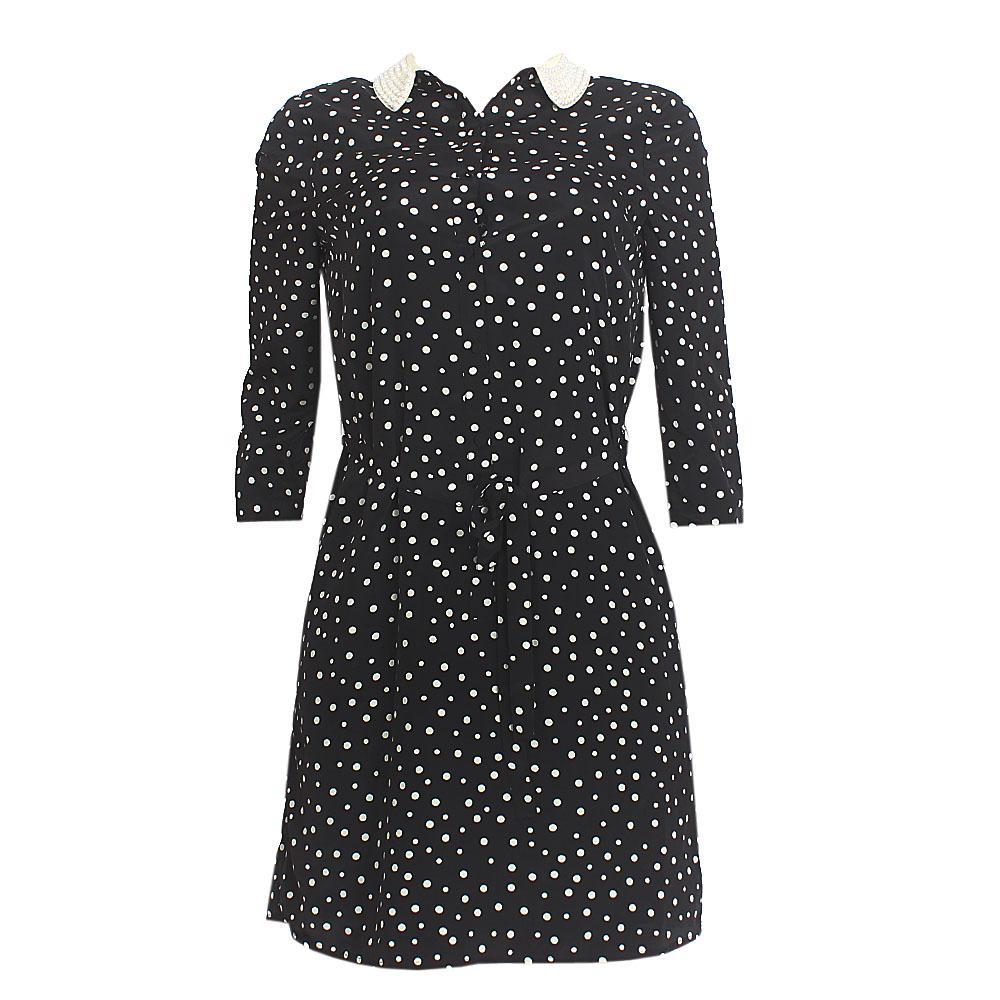 M & S Black White Polka Dot 3/4 Sleeve Chiffon Dress Sz-Uk 8