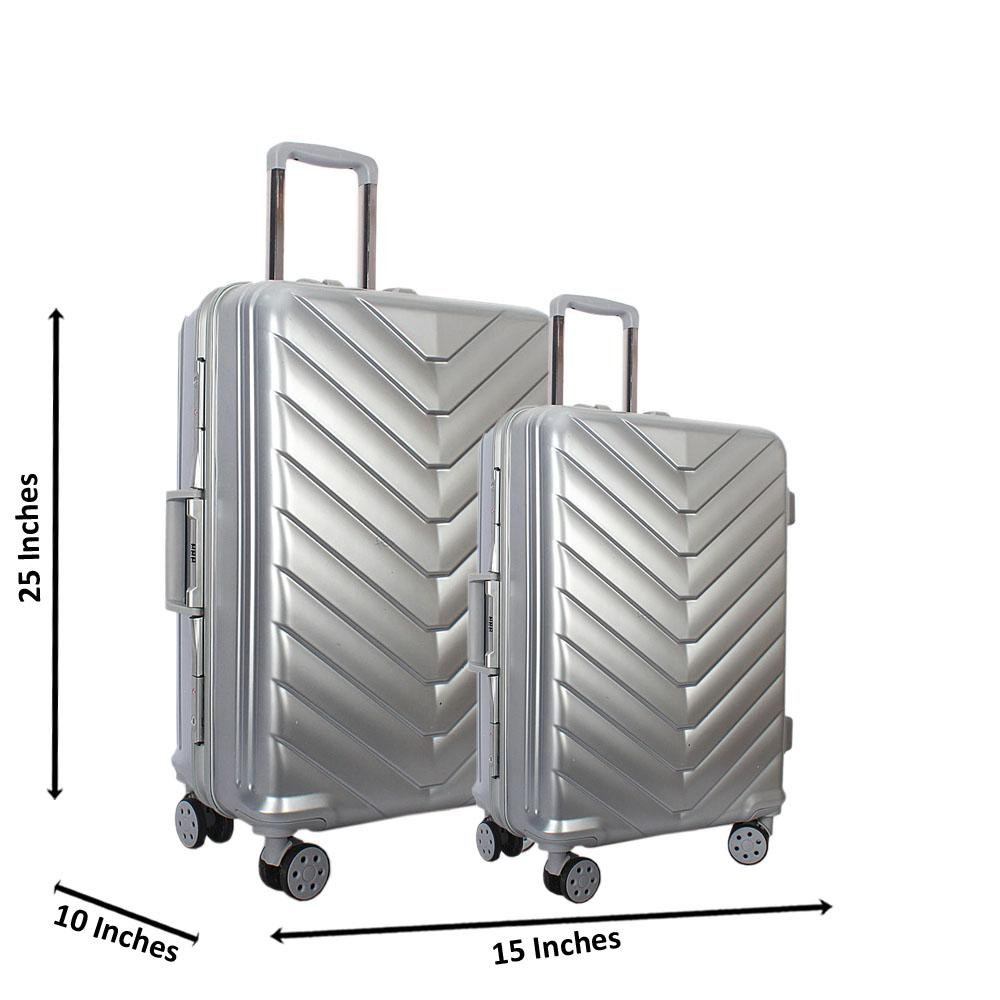 Silver 25 inch Wt 20 inch 2 in 1 Hardshell Luggage Set Wt TSA Lock