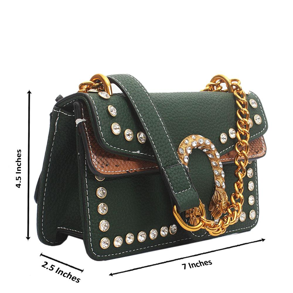Green Leather Super Mini Bag Wt Crystals