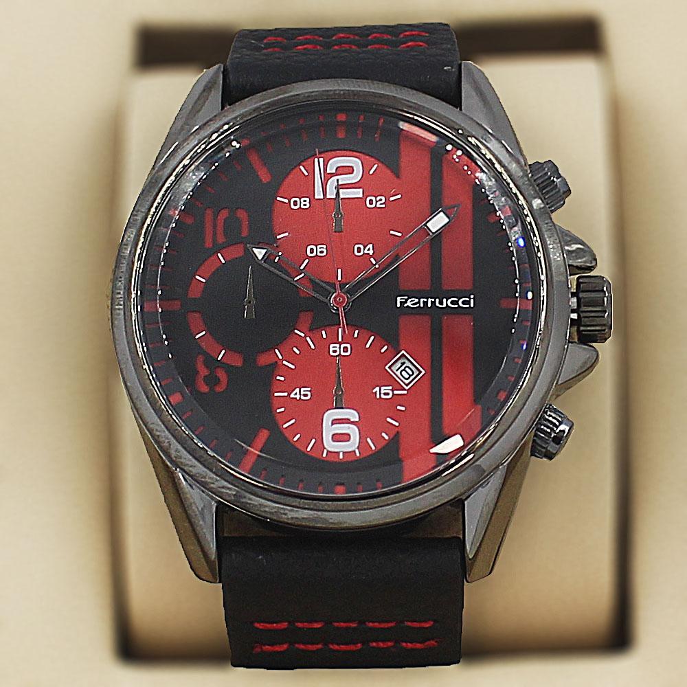 Ferrucci Enzo Black Leather Pilot Series Watch