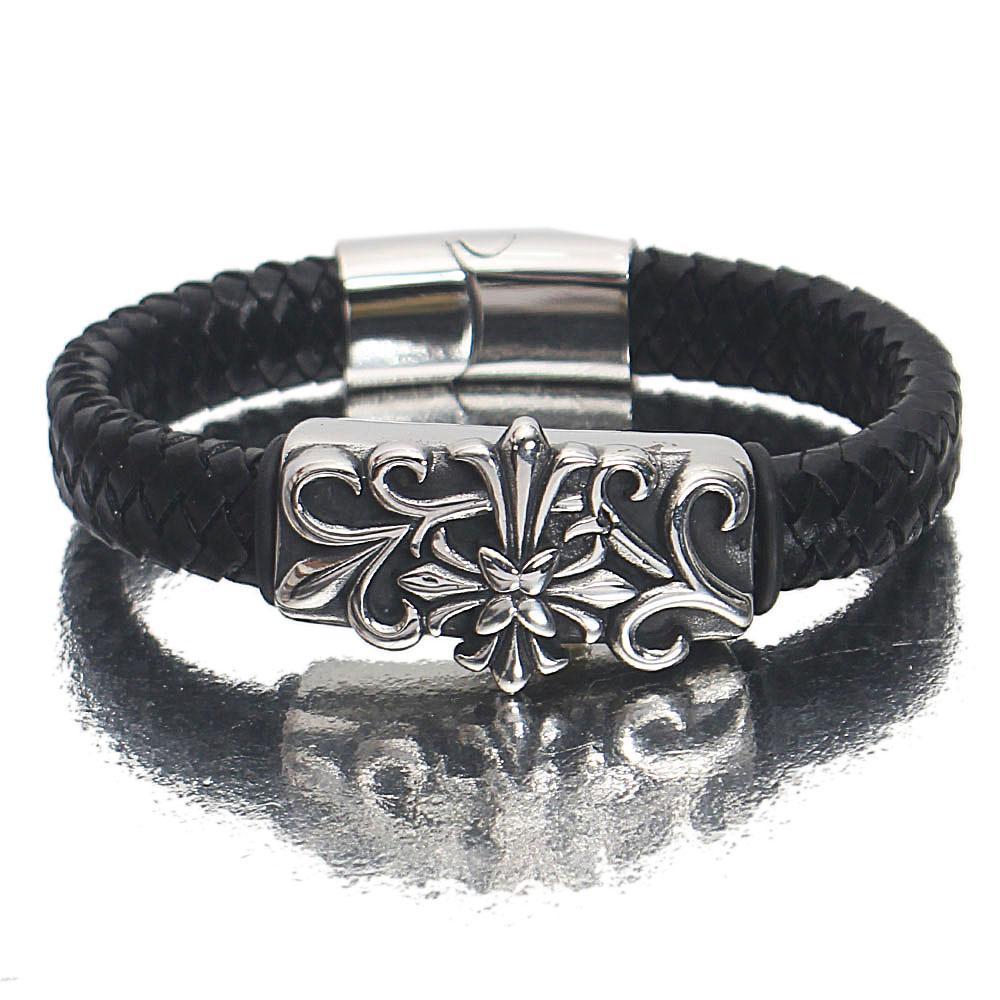 Silver Black Etched Patterned Leather Bracelet