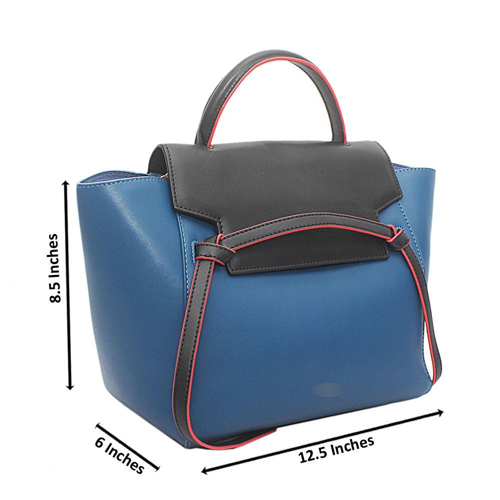 Blue Black Calfskin Leather Belt Handbag