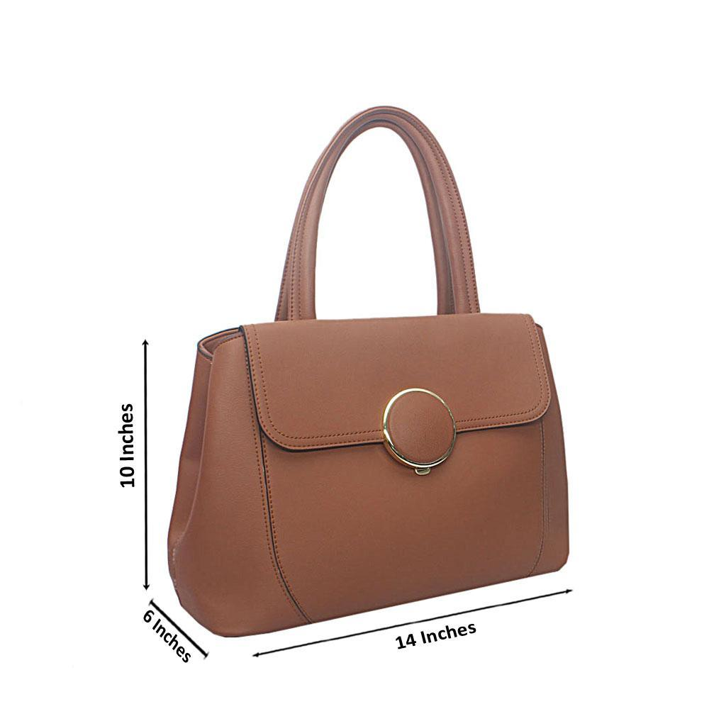 Susen Brown Leather Handbag Wt Peeling Handle