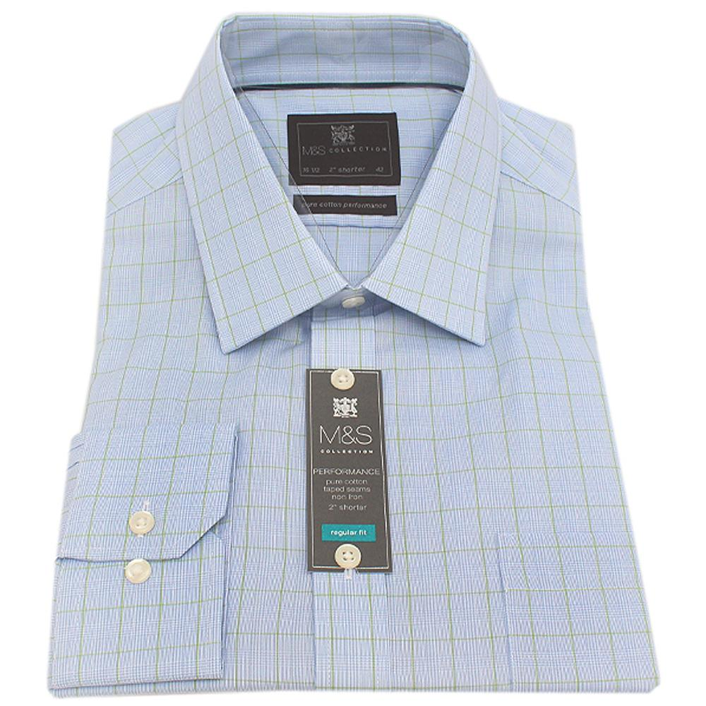 M&S Collection Blue Green Check L/Sleeve Men Shirt