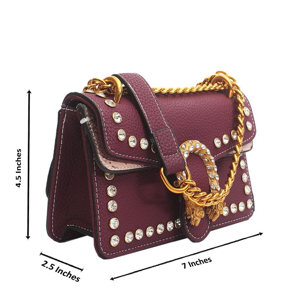 Purple Leather Super Mini Bag Wt Crystals