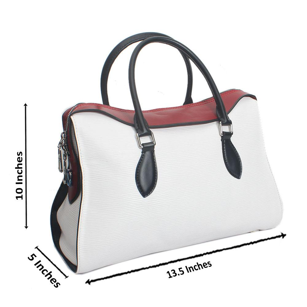 White Castilian Red Epi Saffiano LeatherHandbag