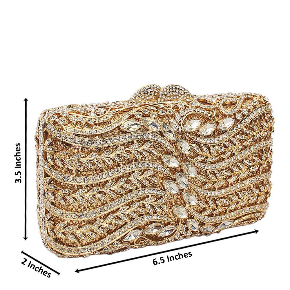 Gold Diamante Crystal Clutch Purse