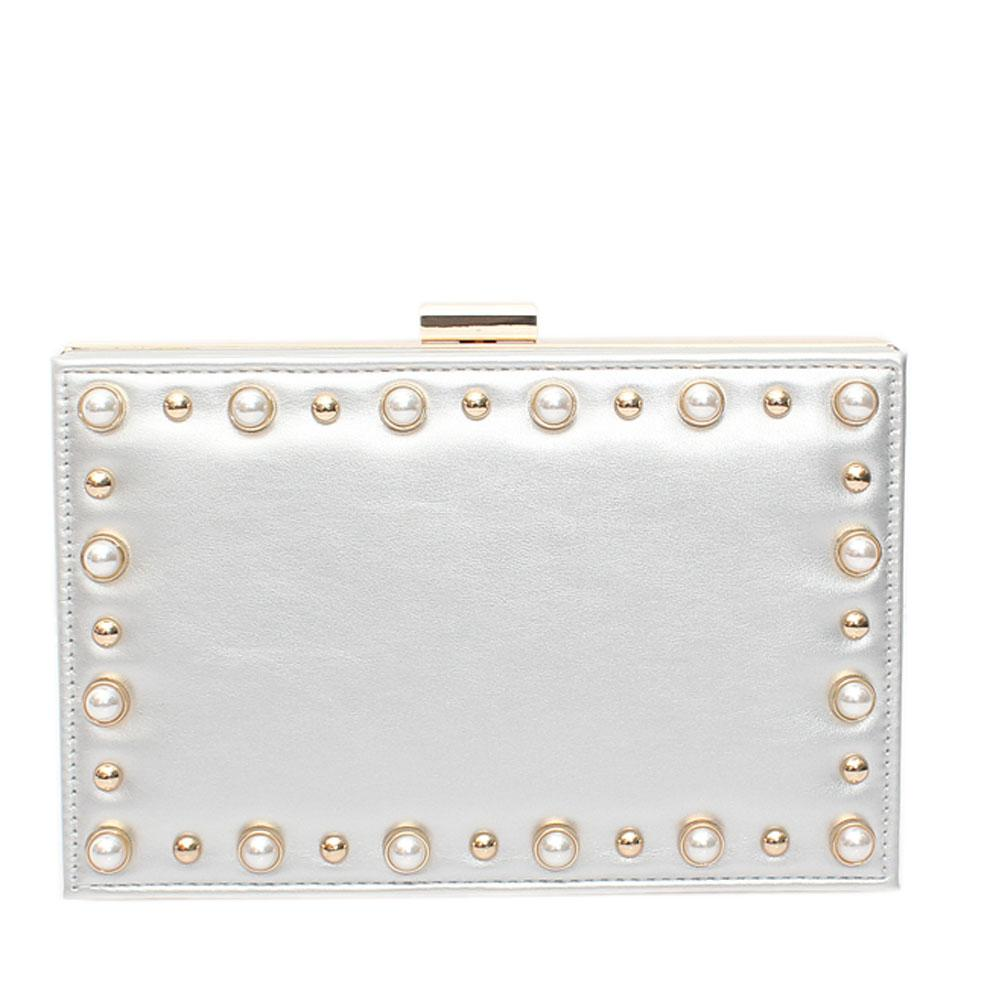 Silver Leather Premium Hard Clutch