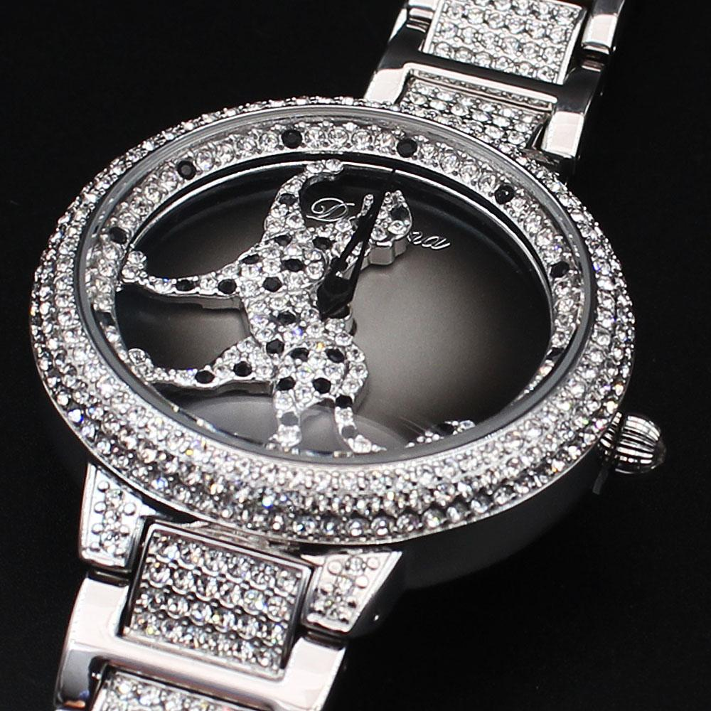 Davena Cheetah wt Austria Crystals Steel Spinner Watch
