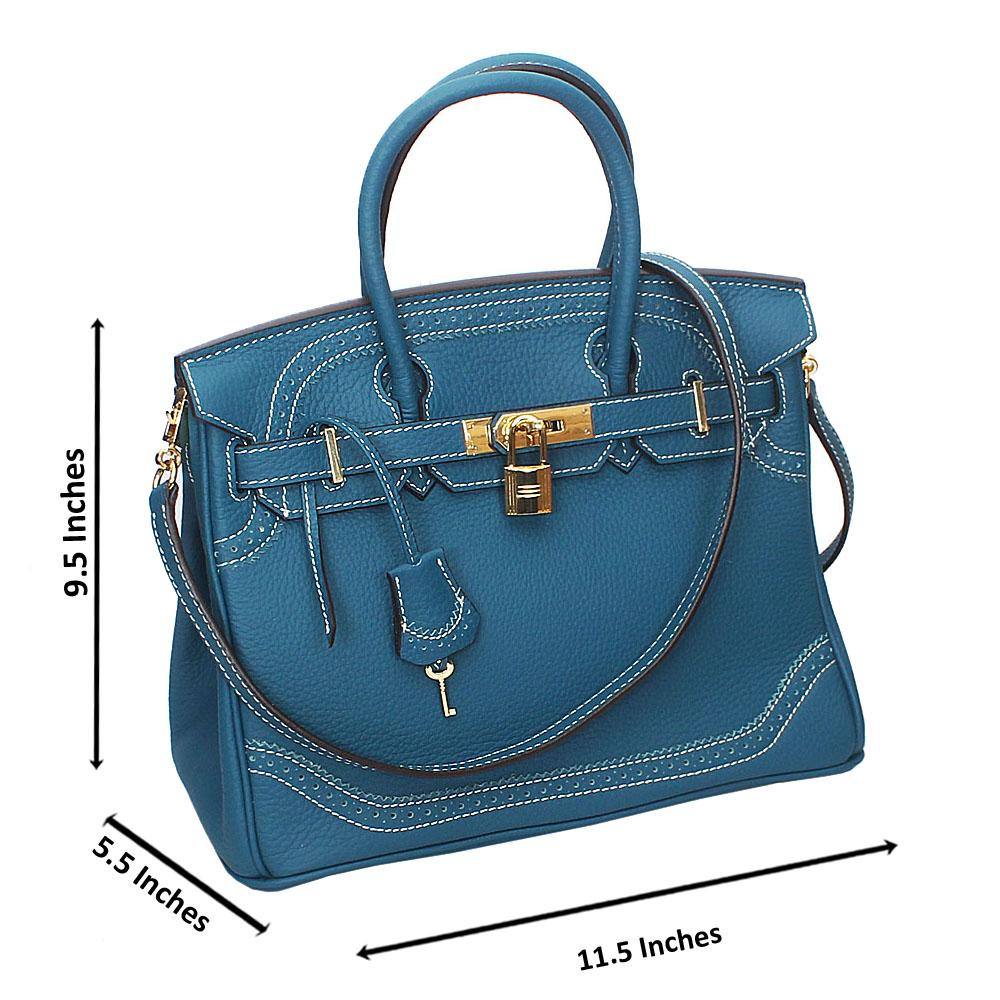 Blue Pebbled Montana Leather Birkin Handbag