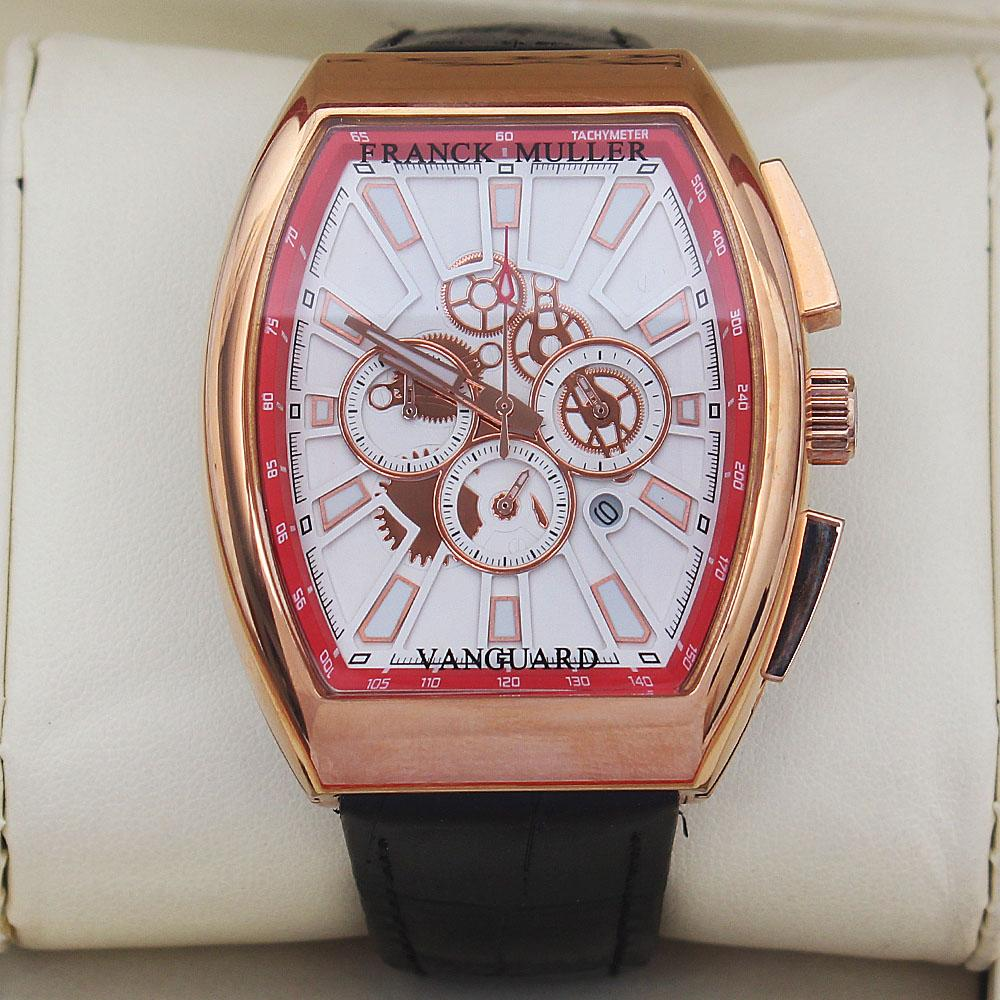 Vanguard Black Leather Rose Gold Men Watch