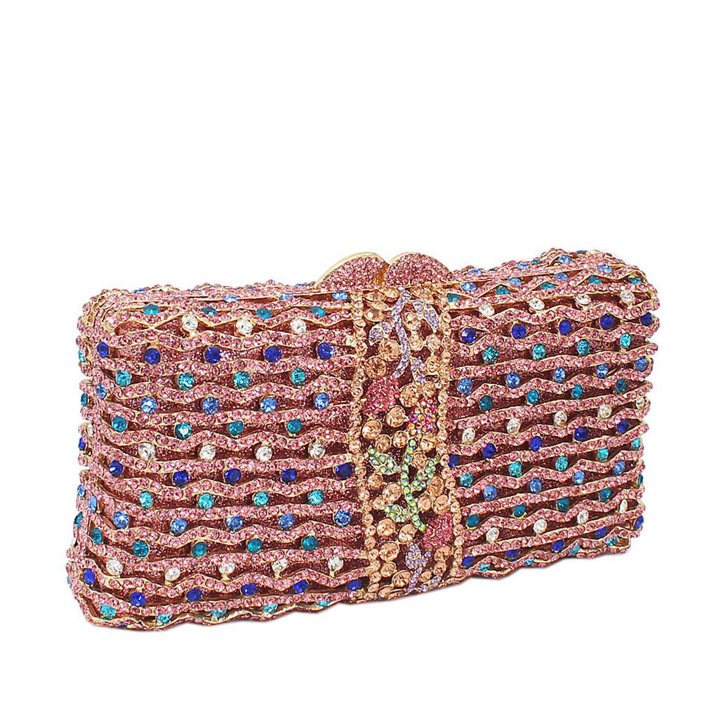 Pink Mix Rect Wave Diamante Crystals Clutch Purse