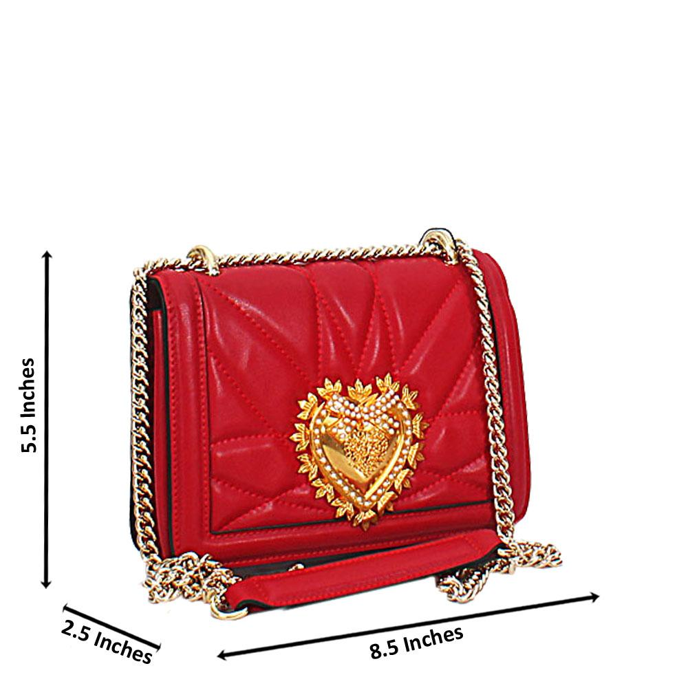 Red Alessia Saffiano Leather Crossbody Handbag