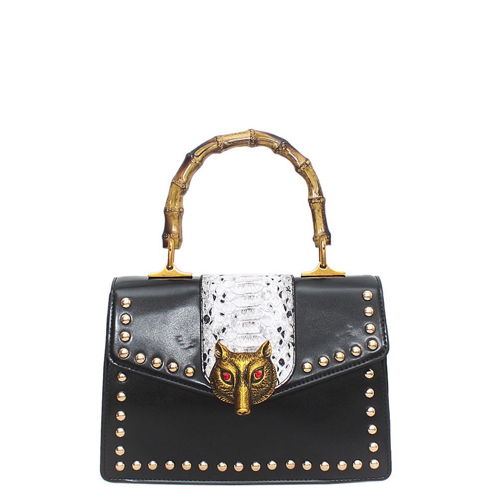 Black Leather Broche Bag