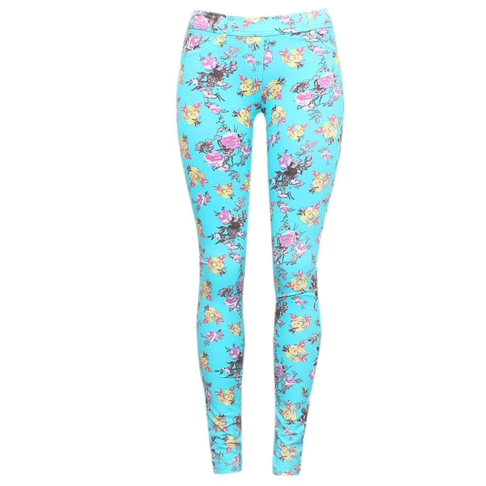 Comodor Green Cotton Floral Ladies Jeggings-29