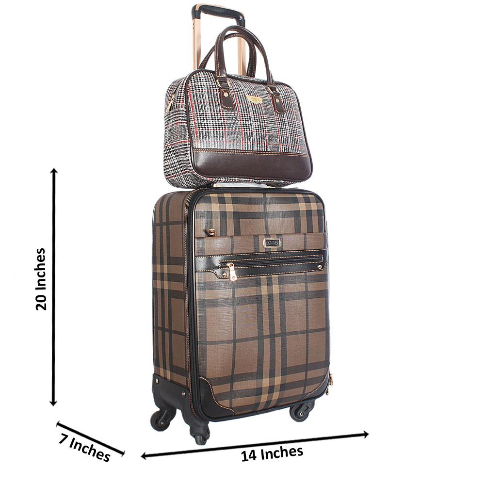 Brown Mix 20 Inch Leather 2 in 1 Carry On Luggage Wt Lock