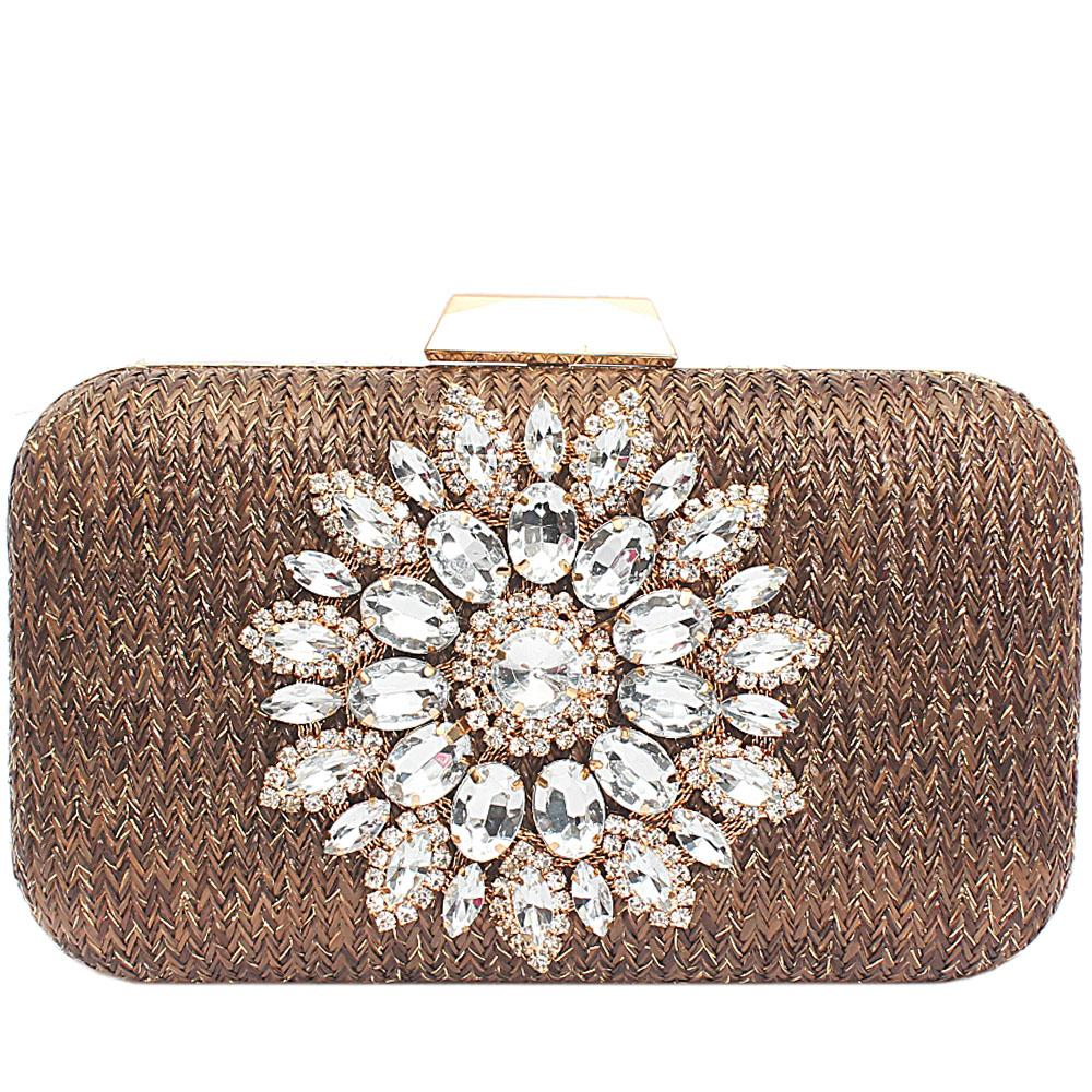 Coffee Gold Woven Studded Hard Clutch