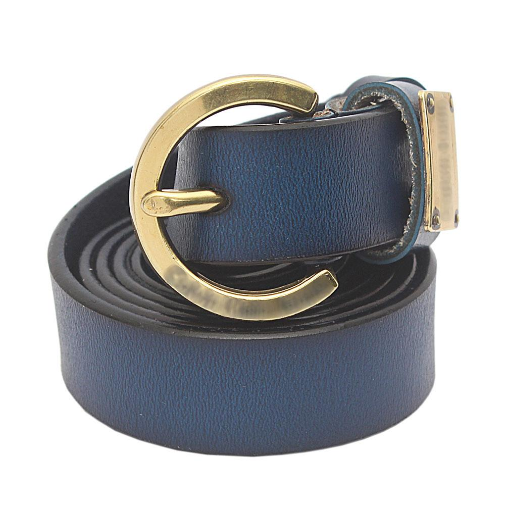 Navy Blue Premium Leather Ladies Belt L 45 Inches