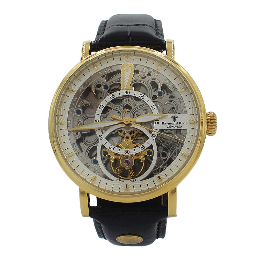 DR 3ATM Gold Black Leather Skeletal Automatic Watch